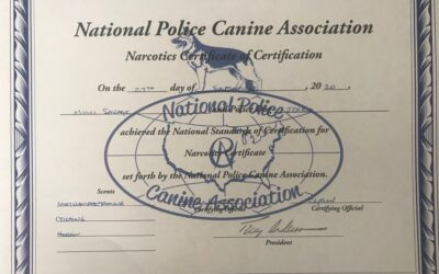 K-9 Jocko Receives Narcotics Certification form NPCA