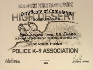 K-9 Jocko Receives Certification in Narcotics and Tracking